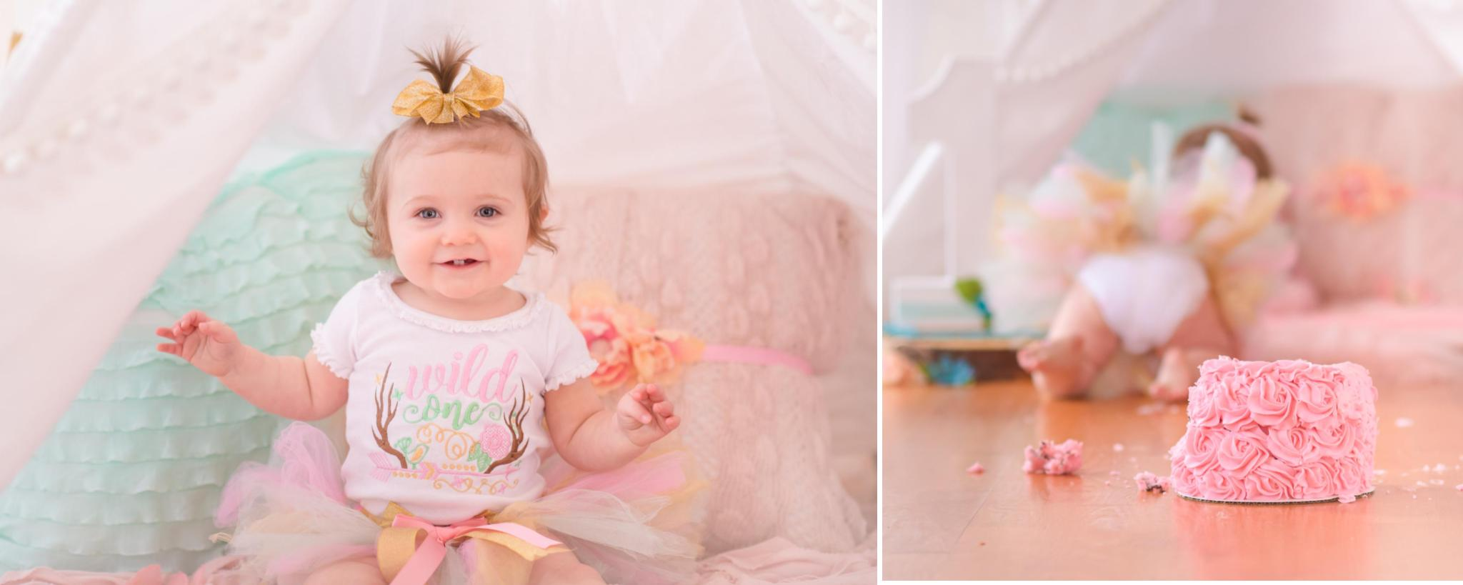 first birthday teepee smash cake session