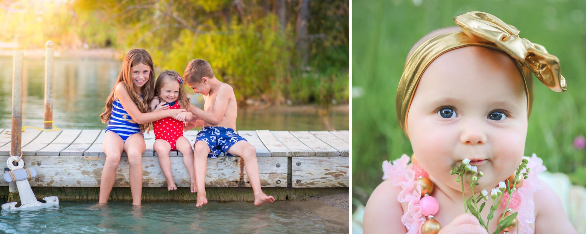 outdoor childrens session and beach and in a field
