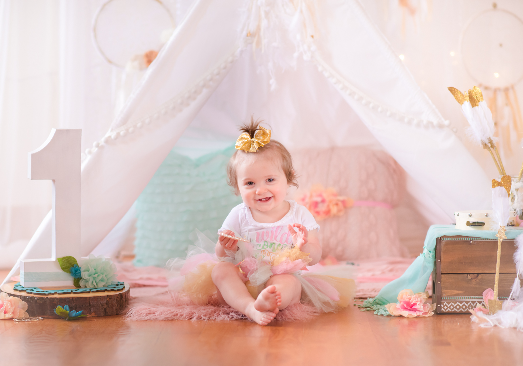 One year old girl in teepee themed styled birthday session