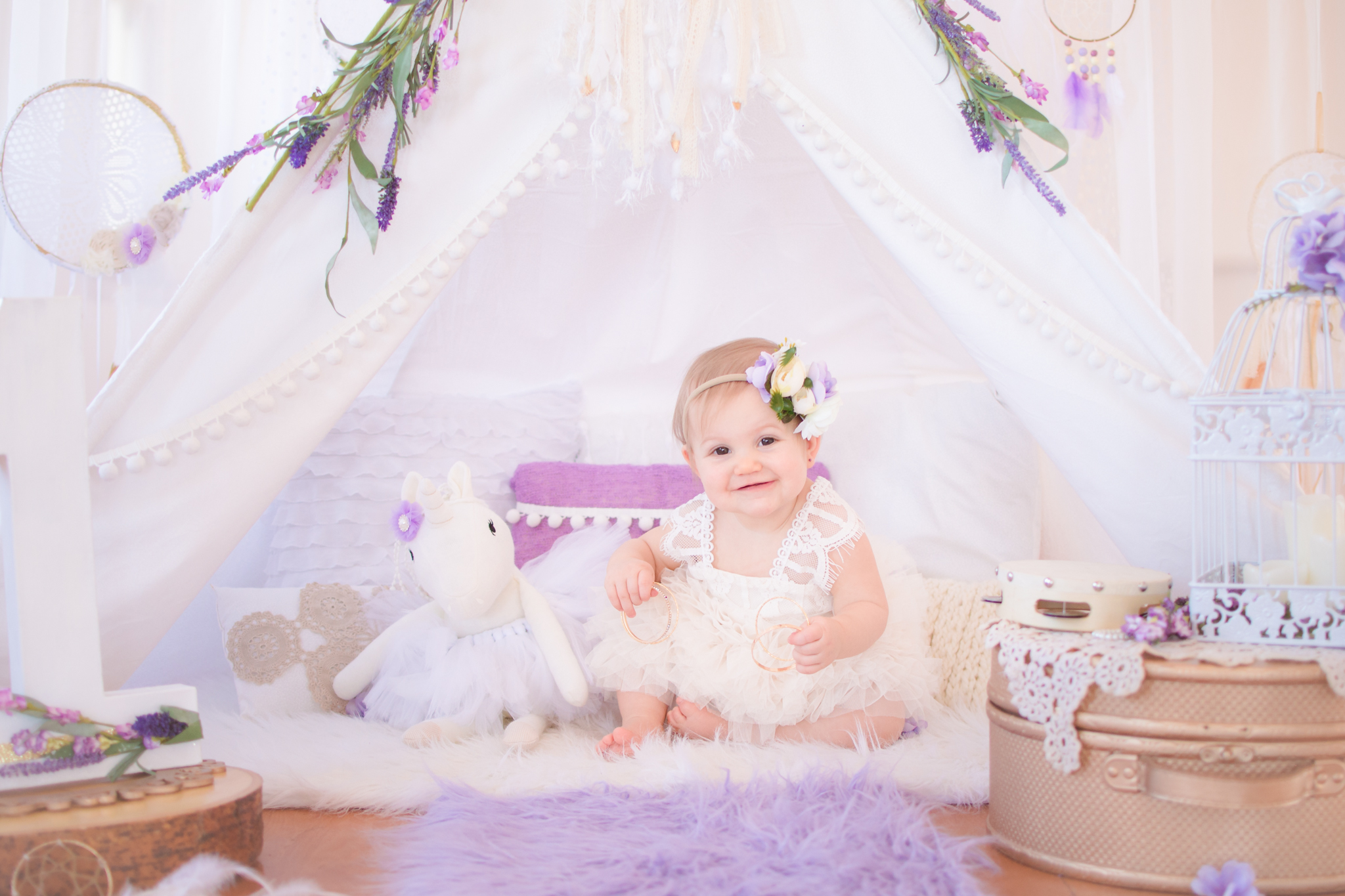 White and purple teepee first birthday session