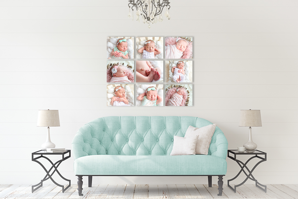 Newborn Canvas Gallery in living room