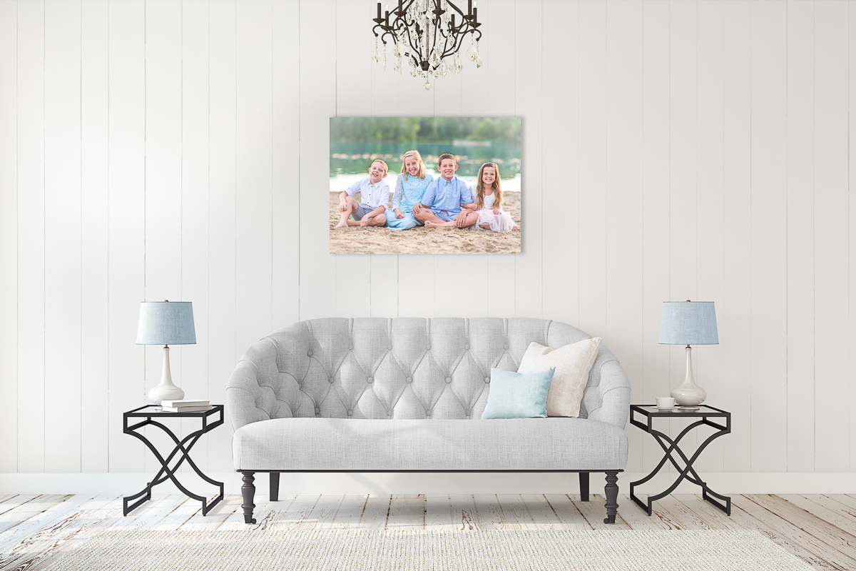 Canvas Display of four kids in Living Room